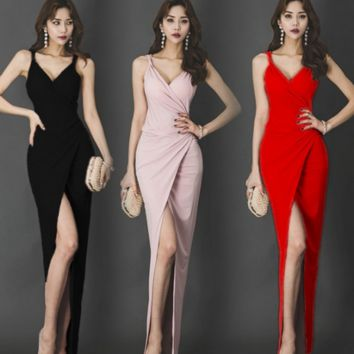 Free shipping straps fork long dress for party and homecoming