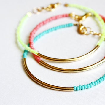 gold bar bracelets - minimalist jewelry - friendship bracelets SET OF 3 bangle