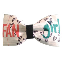 Fangirl Inspired Doodle Tumblr Hair Bow or Bow Tie Geeky Fabric Bow