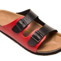 2017 Birkenstock Summer Fashion Leather Cork Flats Beach Lovers Slippers Casual Sandals For Women Men Couples Slippers color black&red size 36-45