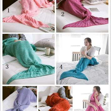 80cm*180cm Large Mermaid Blanket ,Pattern Crochet Mermaid Tail,Knitted Mermaid Tail Blanket Adult Child 31''*71''