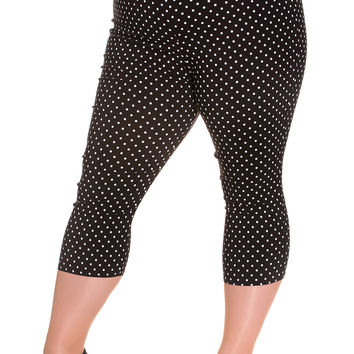 Hell Bunny Plus Size 60's Retro Pinup Doll Polka Dot Capri Pants