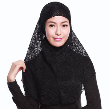 Full Cover Muslim Hat Hijab Two piece Lace Hoofddoek Moslima Solid Islamic Head Turbans Cap Beanies Arab Scarfs SM6