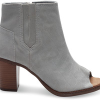 HIGH RISE GREY SUEDE QUILTED WOMEN'S MAJORCA PEEPTOE BOOTIES