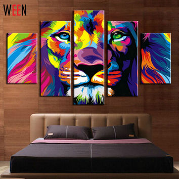 DIY Framed  Lion King Animal Abstract Print Canvas Painting Wall Art Picture For Living Room Decoration Artwork