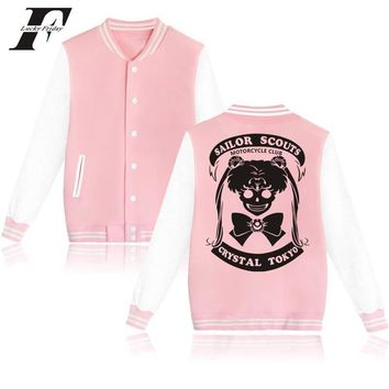 Trendy 2017 kawaii Sailor Moon Printed hoodie sweatshirt Women button baseball Jacket bomber jacket winter Jacket and Coat Clothes AT_94_13