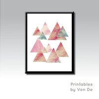 Geometric Mountain Print, Mountain Wall Art, Pink Triangles, Scandinavian Print, Nordic Print, Travel Print, Triangle Print, Watercolor