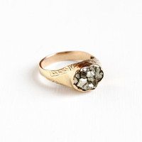 Antique 10k Rosy Yellow Gold Victorian Pyrite Crystal Ring - Early 1900s Men's Size 13 Fine Statement Alternative Engagement Jewelry