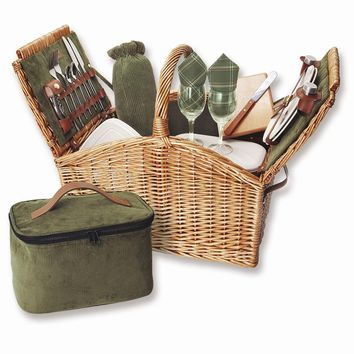 English Style Willow Service For Two Picnic Basket