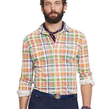 Polo Ralph Lauren Plaid Jersey Western Shirt