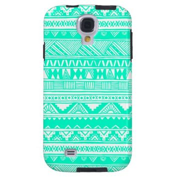 Turquoise White Girly Aztec Geometric Pattern