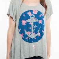 Glamour Kills Clothing - Girls Floral Anchors Drape Top