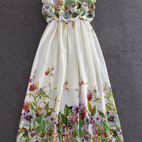 White Floral Sleeveless High Waist Chiffon Maxi Dress