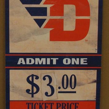 "DAYTON FLYERS GAME TICKET ADMIT ONE GO FLYERS WOOD SIGN 6""X12'' NEW WINCRAFT"