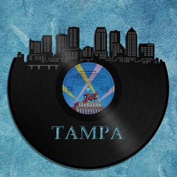 Vinyl Wall Art - Wall Decor Tampa Skyline, Tampa Cityscape, Vinyl Record Art, Gift For Him, Wall Hanging Deco Skyline