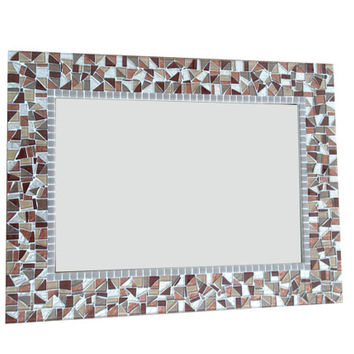 Mosaic Mirror in Brown, Tan, Beige Metallics