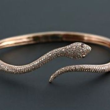 1.39tcw Pavé Diamond & Ruby 14K Rose Gold Slytherin Snake Cuff Bracelet - 6.5""