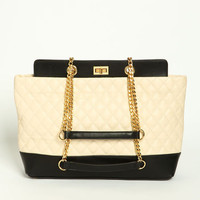 QUILTED TWO TONE SHOULDER BAG