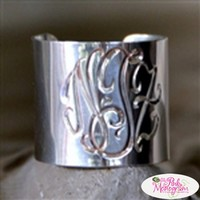 Hand Engraved Monogrammed Wide Cuff Ring by The Pink Monogram at The Pink Monogram