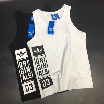adidas men casual fashion letter print breathable cotton vest sleeveless t shirt tops