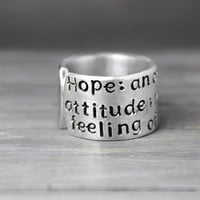 Inspiration Ring, Hope Ring, Personalized Ring, Inspiration Quote Ring, Hand Stamped Ring, Personalized Jewelry, Stamped Quote Ring