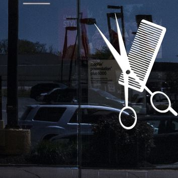 Window Vinyl Wall Decal Comb Scissors Hair Salon Haircut Hairstyle Stickers (2359igw)