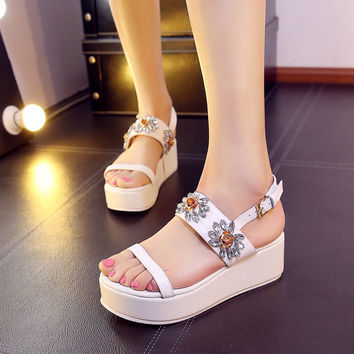 Summer Rhinestone Floral Korean Wedge Waterproof Sandals = 4871036804
