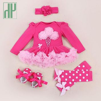 4pcs newborn Baby Clothes Autumn/spring Cotton tutu party dresses pink baby girl lace romper Clothes Sets Dot baby costume
