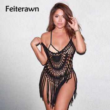 PEAPGC3 Feiterawn Summer Black White Sexy Hollow Out See Through Beach Dress Swimwear Crochet Knitted Swimsuit Cover Up DY1148