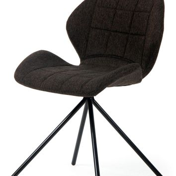 Tilda Fabric Swivel Chair Black Legs, Coffee Truffle (Set of 2)