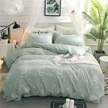 Special offer Green cactus Bedding Sets printed duvet cover set sheets pillowcase queen twin full king size kid girl bedclothes