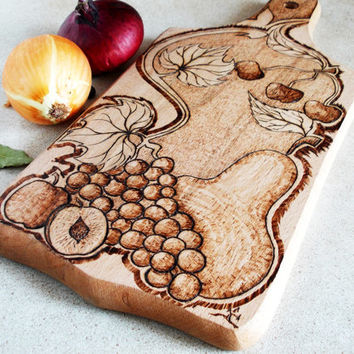 Cutting Board, Wooden Chopping Board, Kitchen board, Handmade, Wood Burned Fruit Motif, housewarming gift, hostess gift, wood burning