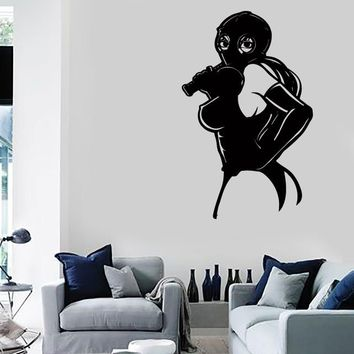 Wall Stickers Vinyl Decal Sexy Girl In Gas Mask With Whip Sex Decor Unique Gift (z2232)