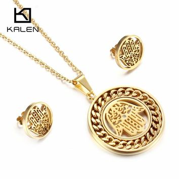 Kalen Women Lucky Palm Jewelry Set Stainless Steel Egypt Gold Color Fatima Hand Hamsa Hand Pendant Necklace & Earrings Set Gift