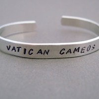 Sherlock Inspired Bracelet - Vatican Cameos - Hand Stamped Aluminum Cuff - customizable