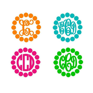One color Polka Dot border Monogram Sticker Decal