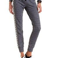 Tribal Print Paneled Jogger Pants by Charlotte Russe - Charcoal