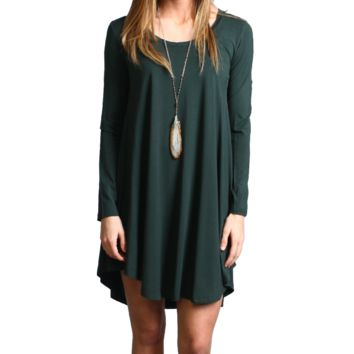 Dark Green Piko Scoop Neck Dress