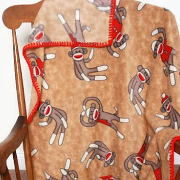 "34x44"" Sock Monkey Toddler/Tummy Time Baby Blanket w/ Fleece & Crochet Edging"