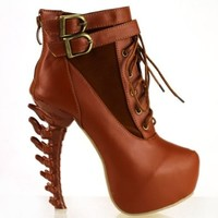 Show Story Brown Lace Up Buckle High-top Bone High Heel Platform Ankle Boots,LF40601BR35,4US,Brown