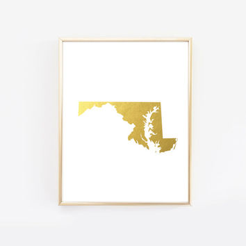 Maryland State Gold Foil Art Print