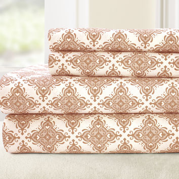 T200 100% Cotton Printed 4 Piece Sheet Set - Casablanca Coral Full
