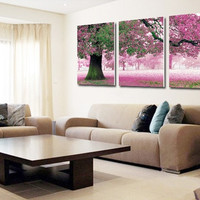 Printing Drawing Room Home Decoration Sakura Cherry Blossom Trees Cross Stitch Knits = 1958009668