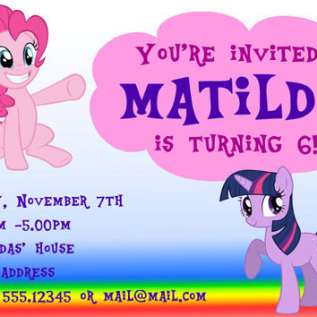My Little Pony Printable Birthday Invitation 5 x 7/4 x 6
