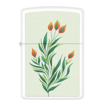 Spring Green Plant With Orange Buds Zippo Lighter