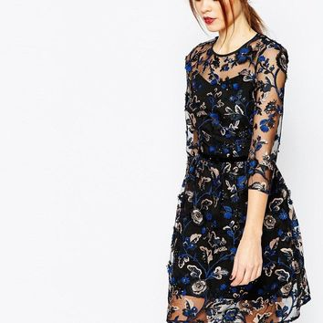 Warehouse | Warehouse Premium Floral Embroidered Dress at ASOS