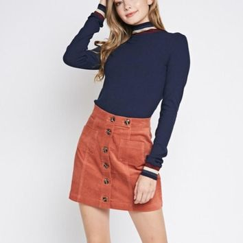 Prep School Button Skirt