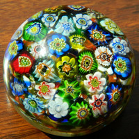 Vintage Multicolor Millefiori Paperweight - Murano Glass Paperweight Made in Italy