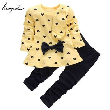 keaiyouhuo Toddler Girls Clothing Sets 2017 Spring Autumn Baby Girl Clothes T-shirt+Pant Outfit Kids Tracksuit Children Clothing