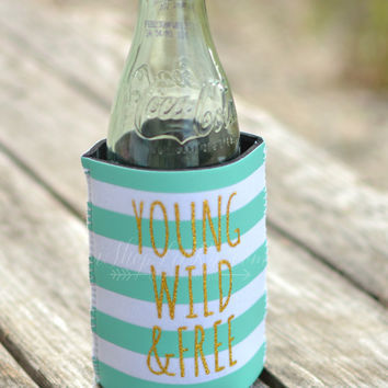 YOUNG WILD AND FREE KOOZIE WITH POCKET